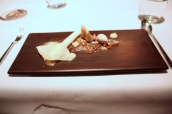 Malt and yeast frozen cream, Jersey milk skin, malt styrofoam, chocolate caramel ganache, caramelised walnuts, Horlicks