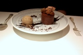 Molleaux aux Chocolat (Dark chocolate mousse with a milk chocolate coffee 'heart')