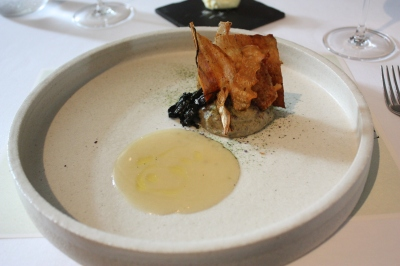 "... Chips"", Smoked Baby Eel Broth, Bresse Chicken and Parsnip Mousse"