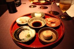 Assortment of Sashimi - Hirame, Amaebi, Ika, Akagai, Mackerel Sushi