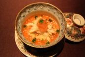Cold kegani crab egg custard with grated fresh apple vinegar
