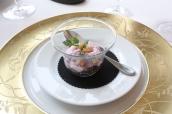 Amuse Bouche - Lentil, Sweet Potato Espuma, Croutons