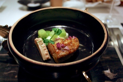 Bamboo, Foie Gras, 'Chu Yeh Ching' Miso, Pickled Indian Lettuce Stem, Green Apple, Winter Bamboo Shoot