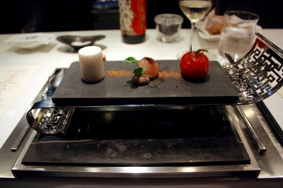 "Tomato - ""Pat Chun"" Chnese Vinegar, Fermented Chinese Olives""Lam Kok"", Marshmallow with Green Onion Oil"