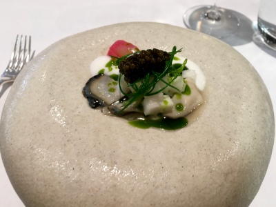 Jersey Rock Oysters with Yorkshire Rhubarb, Apple, Tokyo Turnip, Japanese Wasabi and Oscietra Caviar