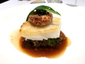 Roast Fillet of Brill with Braised Pig's Trotter, Colfiorito Lentils, Smoked Hock and Parsley