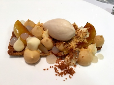 Caramelised Pear with Puff Pastry, Burnt Honey and Hazelnut