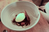 Salted caramel, cacao, malted barley ice cream