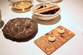 Petit Fours - Mulled Wine Jelly; Macadamia Nut Biscuit; Juniper & Mandarin Crisp