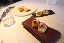 Canapes - Beef Croquette; Cheese Sable with Pineapple and Ham; Chicken Liver Parfait on Curried Macaroons