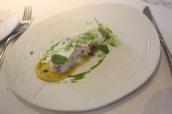 Devon Crab, Parsnip, Marigold, Curry Cream and Frozen Sorrel