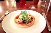 Wild Mushroom, Stilton, Onion and Red Pepper Tart with Dandelion Salad