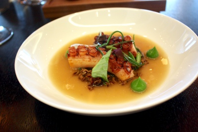 Frumenty (c.1390) - Grilled octopus, spelt, smoked sea broth, pickled dulse, lovage & spelt
