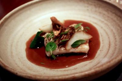 Cod in pine oil, roasted jerusalem artichoke and winter herbs