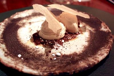 Buckwheat cream, verjus and stout