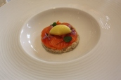 Cornish crab, papaya, orange, yuzu