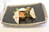 Duck liver parfait, pineapple, smoked duck, spiced meringue