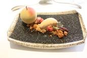 Apple parfait, smoked apple purée, pecan crumble, caramelised white chocolate ice cream