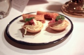 Canapes - Celeriac Tart with Smoked Eel; Pastilla