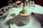 Passion Fruit Souffle with White Chocolate Ice Cream