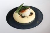 Seared Orkney scallop, braised kombu, bacon, egg sabayon