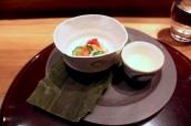 Mukozuke: Sake-steamed clam and scallop, Japanese cucumber, plum infused dashi, seawater shot