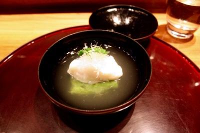 Nimonowan Fine clear soup, Cornish cod and green pea tofu