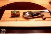 """Hashiyasume: River Severn elver eel with Exmoor caviar """"Unadon"""" North Irish wild eel kabayaki on rice cracker"""