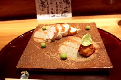 Yakimono Charcoal grilled rabbit loin, diced leg croquette, Morel puree and wasabi watercress oroshi