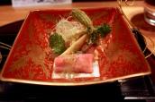 Hiyashimono: Shabu-shabu wagyu, hukinoto miso, bamboo shoots and sudachi jelly