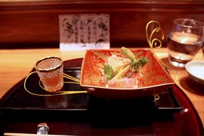 Hiyashimono Shabu-shabu wagyu, hukinoto miso, bamboo shoots and sudachi jelly