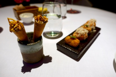 Pig's trotter cromesquie, piccalilli gel; parmesan cheese goujeres; smoked baba ganoush, cardamom yoghurt and savoury cornet