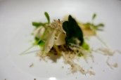 Salt-baked celeriac, truffle ice cream and lovage