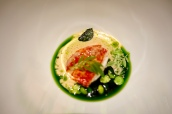 Butter poached lobster, peas, mint and lobster bisque