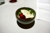 Strawberry sorbet, elderflower granite and basil