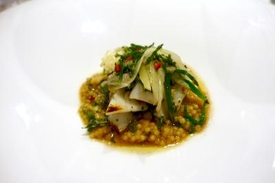 Grilled cuttlefish, fregola, fennel, samphire and preserved lemon