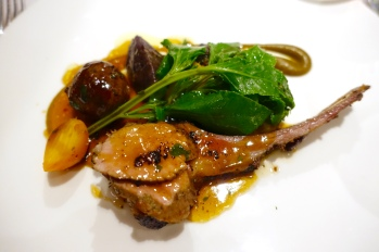Barbequed spring lamb, glazed faggot, violette potatoes, golden beets and ewe's curd