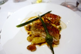 Rhug Estate organic chicken, garlic scapes, girolles, linzer potatoes and roasting juices