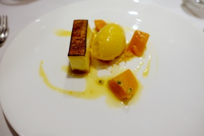 Creme fraiche pave, Alphonso mango and passion fruit