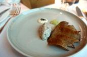 Cornish mackerel tartare, oyster cream, pickled cucumber relish, rye