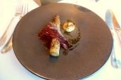 Provence white asparagus, Montgomery cheddar fondue, hazelnuts, caramelized yeast, bellota ham