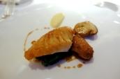 Roast John Dory, stuffed chicken wing, cepe mushroom, new season garlic