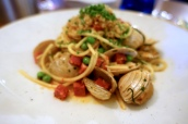 Spaghetti of Surf Clams, Chorizo, Sweet Peas, Lemon and Wild Garlic