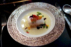 Isle of Gigha halibut with Atlantic King crab, was el hanout infused broth
