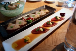 Yellowtail Sashimi with Jalapeno; Tuna Tataki with Ponzu