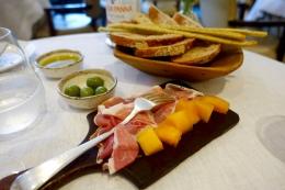 San Daniele Ham, Melon; Bread Basket