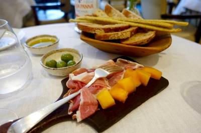 San Daniele Ham with Melon, Bread Basket