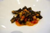 Squid ink farfalle, cuttlefish, fennel, tomato, vermouth