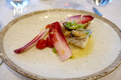 Halibut, honey soused tomatoes, razor clams, peas, cucumber