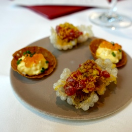 Canapes - Beef Tartare, Grain Mustard; Egg Mayonnaise Tartlet, Keta Caviar